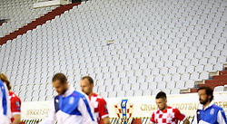 12.06.2015, Stadion Poljud, Split, CRO, UEFA Euro 2016 Qualifikation, Kroatien vs Italien, Gruppe H, im Bild croatisches Logo in den leeren Stadionsitzreihen // during the UEFA EURO 2016 qualifier group H match between Croatia and and Italy at the Stadion Poljud in Split, Croatia on 2015/06/12. EXPA Pictures © 2015, PhotoCredit: EXPA/ Pixsell/ Slavko Midzor<br /> <br /> *****ATTENTION - for AUT, SLO, SUI, SWE, ITA, FRA only*****