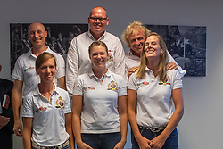 Team Dressage, Devroe Jeroen, Van Lent Jeroen (Chef d'Equipe), Janssen Sjef (Team manager), Verliefden Fanny, Roos Laurence, Verwimp Jorinde<br /> Team presentation for WEG Tryon 2018<br /> Zaventem 2018<br /> © Hippo Foto - Dirk Caremans<br /> 22/08/2018