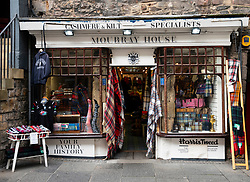 Exterior of Moubray House a traditional shop selling tweed, cashmere and kilts on the Royal Mile in Edinburgh, Scotland, UK