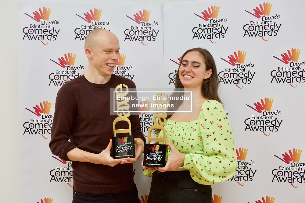 Jordan Brookes, winner of best comedy show, and Catherine Cohen, best newcomer, at the Edinburgh Comedy Awards 2019 pic Terry Murden @edinburghelitemedia
