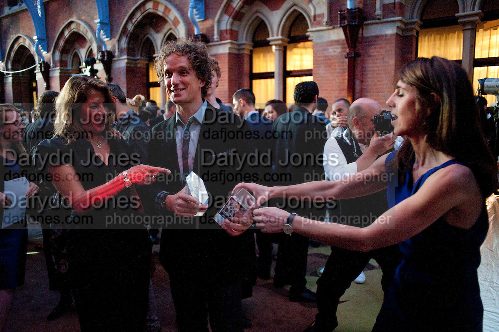 TRACEY EMIN; YVES BEHAR; SARAH MILLER, Conde Nast Traveller Innovation and Design Awards. St. Pancras Renaissance Marriot Hotel. London. 10 May 2011. <br /> <br />  , -DO NOT ARCHIVE-&copy; Copyright Photograph by Dafydd Jones. 248 Clapham Rd. London SW9 0PZ. Tel 0207 820 0771. www.dafjones.com.