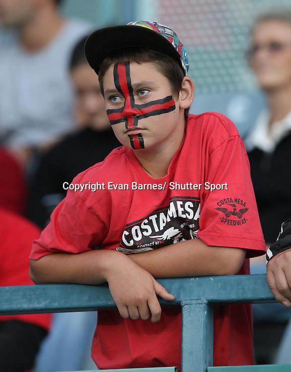 Fan at the game, 11 March 2011, Trafalgar Park, Nelson, New Zealand. Photo: Evan Barnes /  Photosport.