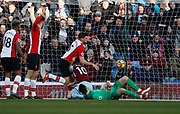 Goal scored by Burnley's Ashley Barnes during the Premier League match between Burnley and Southampton at Turf Moor, Burnley, England on 24 February 2018. Picture by Paul Thompson.