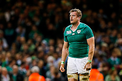 Ireland Number 8 Jamie Heaslip (capt) looks dejected at the final whistle after Argentina win the match - Mandatory byline: Rogan Thomson/JMP - 07966 386802 - 18/10/2015 - RUGBY UNION - Millennium Stadium - Cardiff, Wales - Ireland v Argentina - Rugby World Cup 2015 Quarter Finals.