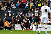 The Millers celebrate the opening goal during the Sky Bet Championship match between Milton Keynes Dons and Rotherham United at stadium:mk, Milton Keynes, England on 9 April 2016. Photo by Dennis Goodwin.