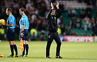 29/07/15 UEFA CHAMPIONS LEAGUE 3RD RND QUALIFIER 1ST LEG<br /> CELTIC v QARABAG FK<br /> CELTIC PARK - GLASGOW<br /> Celtic manager Ronny Deila applauds the fans at full-time