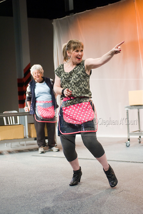 L-R: Geraldine Brophy, Lyndee-Jane Rutherford. The stage play Sex Drive, at Circa Theatre, Wellington, 15 Oct - 12 Nov 2011. Written by Lorae Parry and Pinky Agnew, directed by Jane Waddell.