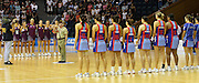 The Firebirds and Mystics stand for the Last Post prior to the start of round 4 of the ANZ Netball Championship - Queensland Firebirds v Northern Mystics. Played at Brisbane Convention Centre. Firebirds (46) defeated the Mystics (40).  Photo: Warren Keir (SMP/Photosport).<br /> <br /> Use information: This image is intended for Editorial use only (e.g. news or commentary, print or electronic). Any commercial or promotional use requires additional clearance.