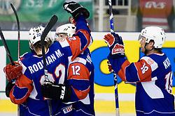 Slovenian players celebrate scoring a goal at IIHF Ice-hockey World Championships Division I Group B match between National teams of Hungary and Slovenia, on April 23, 2010, in Tivoli hall, Ljubljana, Slovenia. (Photo by Matic Klansek Velej / Sportida)