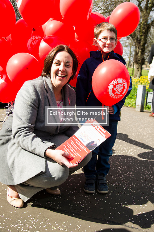 Pictured: Kezia Dugdale and Struan Robson (7) enjoy the sunshine<br /> <br /> Scottish Labour leader Kezia Dugdale was joined by Edinburgh Southern candidate Daniel Johnson for campaigning and a walkabout in the Meadows. <br /> <br /> Ger Harley | EEm 17 April 2016
