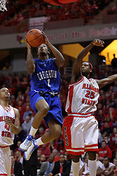 03 January 2009: Justin Carter slips between Brandon Sampay and Champ Oguchi for a shot. The Illinois State University Redbirds extended their record to 14-0 with a 86-64 win over the Creighton Bluejays on Doug Collins Court inside Redbird Arena on the campus of Illinois State University in Normal Illinois