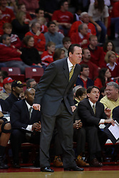 18 February 2009: Coach Gregg Marshall glares at the action on the court. The Illinois State University Redbirds took the charge out of the Wichita State Shockers 74-59 on Doug Collins Court inside Redbird Arena on the campus of Illinois State University in Normal Illinois