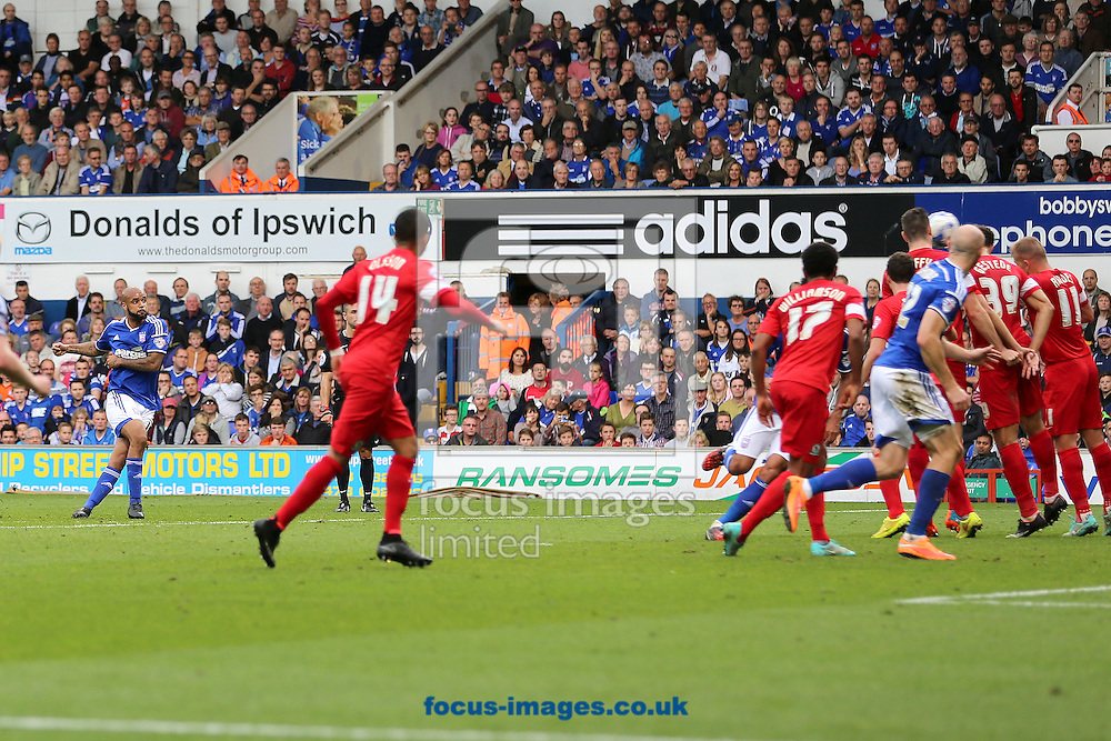David McGoldrick (left) of Ipswich Town scores the opening goal from a free-kick during the Sky Bet Championship match against Blackburn Rovers at Portman Road, Ipswich<br /> Picture by Richard Calver/Focus Images Ltd +447792 981244<br /> 18/10/2014