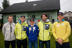Matej Oblak, Klemen Bauer, Teja Gregorin, Tomas Kos and Vid Voncina at opening ceremony of rebuilded T. Gregorin's house after she moved from Ihan, on November 10, 2011, in Hotemaze at Kranj, Slovenia. (Photo by Vid Ponikvar / Sportida)
