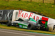 Reema Juffali(SAU) Double R Racing hits the wall after a collision with Mariano Martinez(MEX) Fortec Motorsport heading up the hill on the start / finish straight during the FIA Formula 4 British Championship at Knockhill Racing Circuit, Dunfermline, Scotland on 15 September 2019.