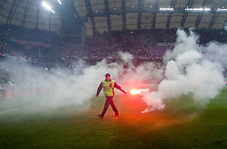 Flares on the pitch during the UEFA EURO 2012 group C match between Italy and Croatia at Poznan City Stadium on June 14, 2012 in Poznan, Poland.  (Photo by Vid Ponikvar / Sportida.com)