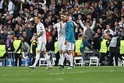 Célébration Victory Real Madrid during the UEFA Champions League, semi final, 2nd leg football match between Real Madrid and Bayern Munich on May 1, 2018 at Santiago Bernabeu stadium in Madrid, Spain - Photo Laurent Lairys / ProSportsImages / DPPI