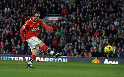 Dimitar Berbatov (Man Utd) completes his hat-trickduring the Barclays Premier League match between Manchester United and Blackburn Rovers at Old Trafford on November 27, 2010 in Manchester, England.