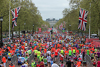 The mass of runners head up The Mall through the area where they pick up their goodie bags having finished Virgin Money London Marathon, Sunday 26th April 2015.<br /> <br /> Dillon Bryden for Virgin Money London Marathon<br /> <br /> For more information please contact Penny Dain at pennyd@london-marathon.co.uk