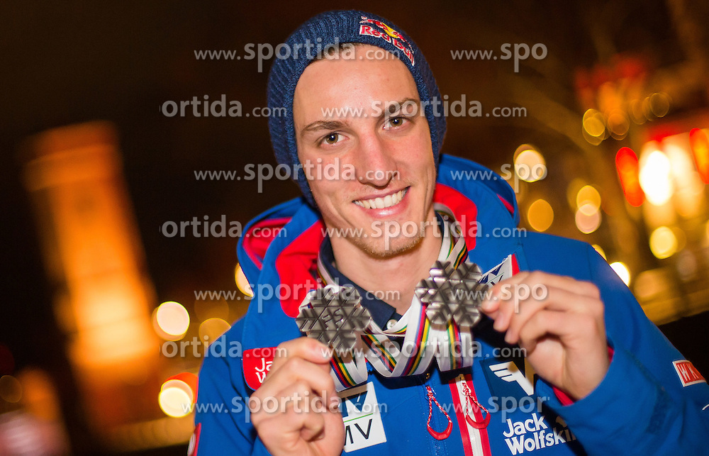 28.02.2015, Österreich Haus, Falun, SWE, FIS Weltmeisterschaften Ski Nordisch, Medaillenfeier, im Bild Gregor Schlierenzauer (AUT) // during the Medal Party of the FIS Nordic Ski World Championships 2015 at the Ski Austria House, Falun, Sweden on 2015/02/28. EXPA Pictures © 2015, PhotoCredit: EXPA/ JFK