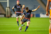 Simon Hickey (#10) of Edinburgh Rugby kicks a penalty to make the score 3-0 during the Guinness Pro 14 2018_19 match between Edinburgh Rugby and Toyota Cheetahs at BT Murrayfield Stadium, Edinburgh, Scotland on 5 October 2018.