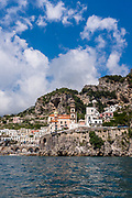 View from the water of the village of Atrani on the Amalfi Coast of Italy