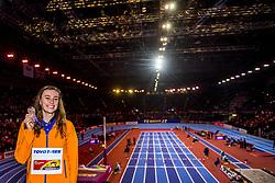 04-03-2018 GBR: World Indoor Championships Athletics day 4, Birmingham<br /> Nadine Visser NED, 60 Metres Hurdles pakt de bronze medaille. De Nederlandse eindigde in 7,84 als derde.