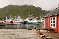 Fishing boats in harbour of Lofoten Islands Norway