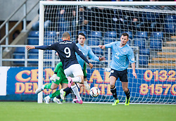 Falkirk's Phil Roberts has a shot.<br /> Falkirk 2 v 0 Dundee, Scottish Championship game at The Falkirk Stadium.<br /> &copy; Michael Schofield.