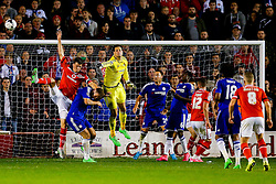 Asmir Begovic of Chelsea punches clear - Mandatory byline: Rogan Thomson/JMP - 07966 386802 - 23/09/2015 - FOOTBALL - Bescot Stadium - Walsall, England - Walsall v Chelsea - Capital One Cup.