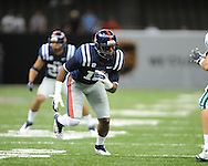Ole Miss defensive end C.J. Johnson (10) vs. Tulane in the first half at the Mercedes-Benz Superdone in New Orleans, La. on Saturday, September 22, 2012. Ole Miss won 39-0...