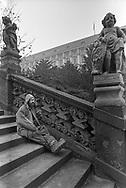 Prague, 2001: uomo fuma seduto sulle scale - man smoking <br /> &copy;Andrea Sabbadini