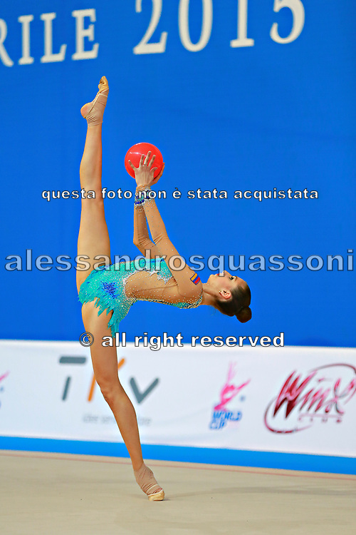 Harutyunyan Lilit during qualifying at ball in Pesaro World Cup 10 April 2015. Lilit is an Armenian rhythmic gymnastics athlete born  May 5, 1995 in Erevan,  Armenia.
