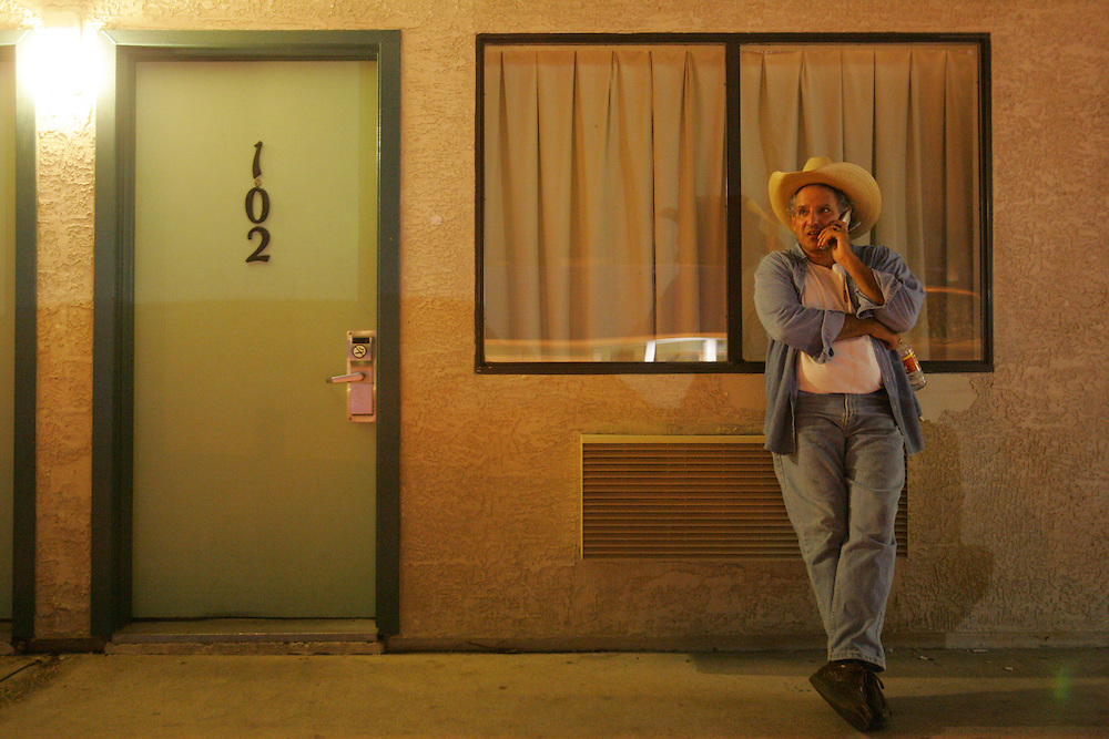 Jay Johnson Castro stops at a Motel 6 in Laredo at the end of the first day of walking after vetoing the initial plan to camp out on the side of the road.