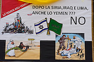 Roma 14 Aprile 2015<br /> La Rete No War insieme  con cittadini dello Yemen, del Libano e della Siria, manifesta davanti all'Ambasciata dell'Arabia Saudita per protestare contro l'intervento militare saudita nello Yemen.<br /> Roma, Italy. 14th April 2015 -- <br /> The No War Network  together with citizens of Yemen, Lebanon and Syria,  rallied in front of the Embassy of Saudi Arabia in Rome to protest against the Saudi military intervention in Yemen.