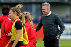 Willie Kirk manager of Bristol City Women looks delighted after his side record a 2-1 win - Mandatory byline: Rogan Thomson/JMP - 09/07/2016 - FOOTBALL - Stoke Gifford Stadium - Bristol, England - Bristol City Women v Milwall Lionesses - FA Women's Super League 2.