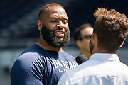 Akiem Hicks (DT, Chicago Bears) interviews at the NFL Academy, Stadium showcase during the NFL Media Day held at Tottenham Hotspur Stadium, London, United Kingdom on 2 July 2019.