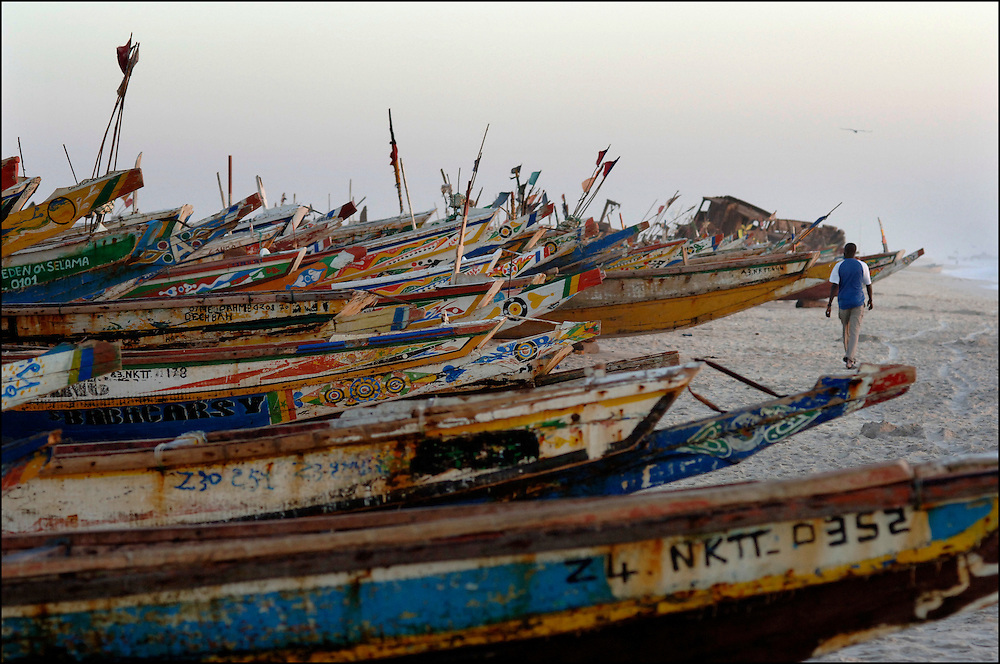 Mauritania October 27, 2006 -Colorful Fishing Boats on beach in Nouakchott.©Jean-Michel Clajot
