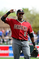 GLENDALE, AZ - MARCH 05:  Rickie Weeks #5 of the Arizona Diamondbacks warms up prior to the spring training game against the Los Angeles Dodgers at Camelback Ranch on March 5, 2016 in Glendale, Arizona.  The Dodgers won 7-2.  (Photo by Jennifer Stewart/Getty Images) *** Local Caption *** Rickie Weeks