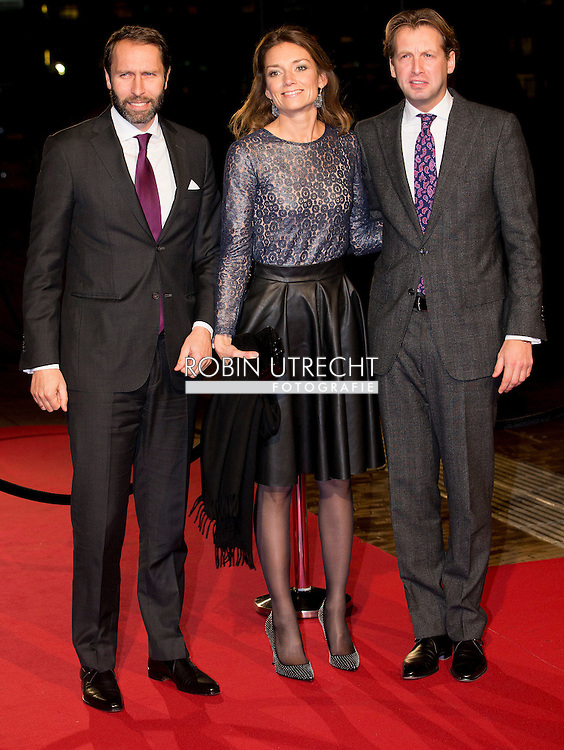 UTRECHT - Princess Aimee and Prince Floris and Tjalling ten Cate  arrive in Utrecht Dutch royal family attend the 75th birthday anniversary of Pieter van Vollenhoven and the 25th jubilee of the Fonds Slachtofferhulp (Victim Fund) in Utrecht. COPYRIGHT ROBIN UTRECHT