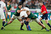 Maro Itoje of England is tackled by Eben Etzebeth and Vincent Koch of South Africa during the World Cup Japan 2019, Final rugby union match between England and South Africa on November 2, 2019 at International Stadium Yokohama in Yokohama, Japan - Photo Yuya Nagase / Photo Kishimoto / ProSportsImages / DPPI