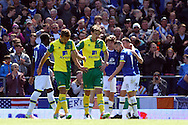 Gary O&rsquo;Neil of Norwich and Ryan Bennett of Norwich look dejected after conceding their side&rsquo;s 1st goal during the Barclays Premier League match at Goodison Park, Liverpool<br /> Picture by Paul Chesterton/Focus Images Ltd +44 7904 640267<br /> 15/05/2016
