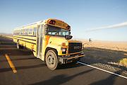 Een schoolbus rijdt over de SR305 bij Battle Mountain.<br /> <br /> A school bus is riding on the SR305 near Battle Mountain, Nevada.