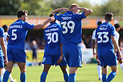 AFC Wimbledon striker Joe Pigott (39) celebrates goal or possible own goal during the EFL Sky Bet League 1 match between AFC Wimbledon and Shrewsbury Town at the Cherry Red Records Stadium, Kingston, England on 14 September 2019.