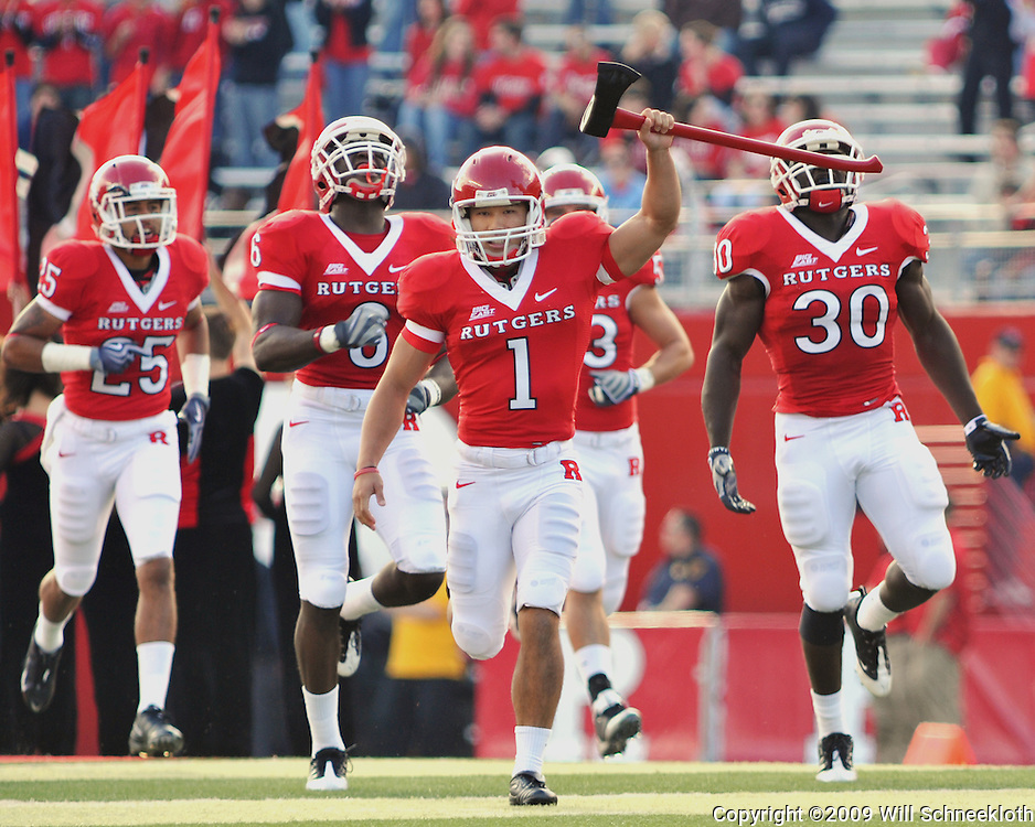 Oct 10, 2009; Piscataway, NJ, USA; Rutgers kicker San San Te (1) leads the Scarlet Knights onto the field for first half NCAA college football action between Rutgers and Texas Southern at Rutgers Stadium.