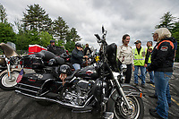 "Riders gathered at Laconia Harley in Meredith for the ""Ride to the Sky"" on Thursday morning.  (Karen Bobotas/for the Laconia Daily Sun)"