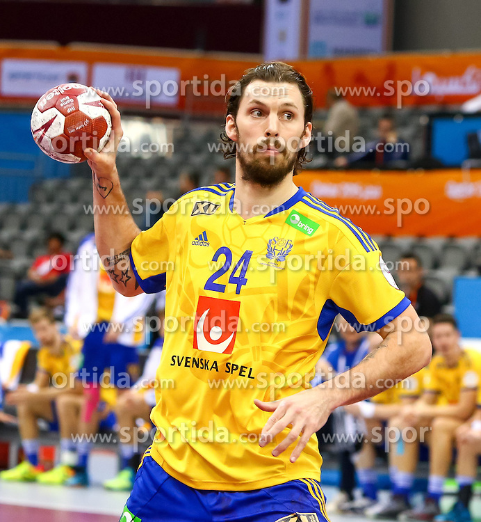 18.01.2015, Ali Bin Hamad Al Attiyah Arena, Doha, QAT, IHF, Handball Weltmeisterschaft der Herren, Gruppe C, Tschechische Republik vs Schweden, im Bild Fredrik Petersen (SWE) // during the IHF Handball World Championship group C match between Czech Republic and Sweden at the Ali Bin Hamad Al Attiyah Arena, Doha, Qatar on 2015/01/18. EXPA Pictures © 2015, PhotoCredit: EXPA/ Sebastian Pucher