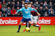 Hamilton Academical Midfielder Dougie Imrie fouled by Hearts FC Defender Callum Paterson during the Ladbrokes Scottish Premiership match between Heart of Midlothian and Hamilton Academical FC at Tynecastle Stadium, Gorgie, Scotland on 7 November 2015. Photo by Craig McAllister.