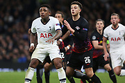 Tottenham Hotspur forward Steven Bergwijn and RB Leipzig defender Ethan Ampadu in action during the Champions League match between Tottenham Hotspur and Leipzig at Tottenham Hotspur Stadium, London, United Kingdom on 19 February 2020.