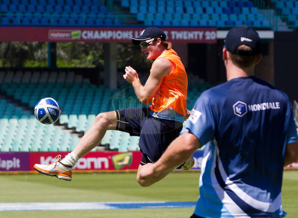 Martin Guptill plays soccer during the Auckland Aces practice session held a Kingsmead Stadium in Durban on the 18th October 2012..Photo by Rogan Ward/SPORTZPICS/CLT20